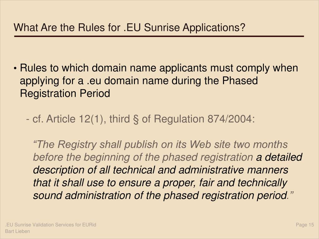 What Are the Rules for .EU Sunrise Applications?