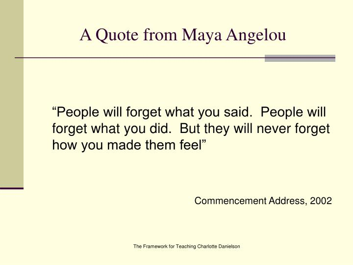 A Quote from Maya Angelou