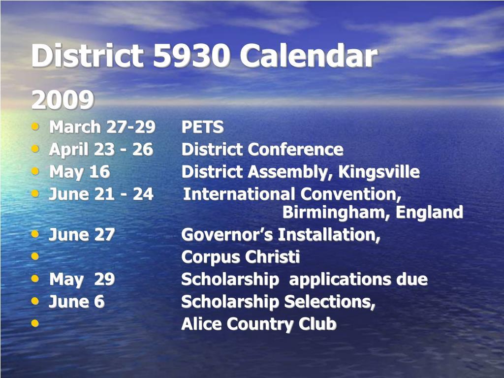 District 5930 Calendar