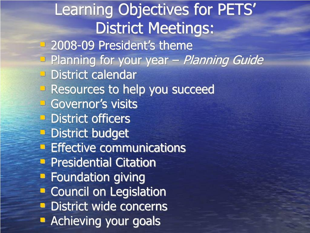 Learning Objectives for PETS'