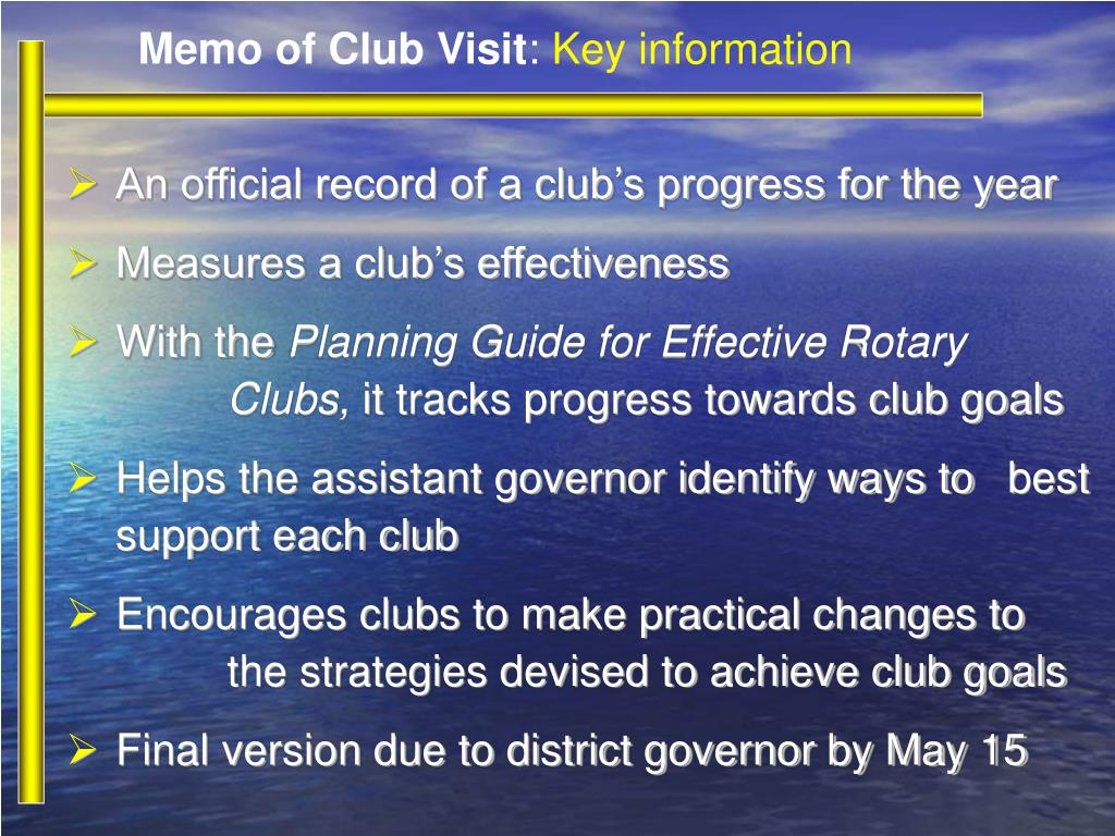 Memo of Club Visit