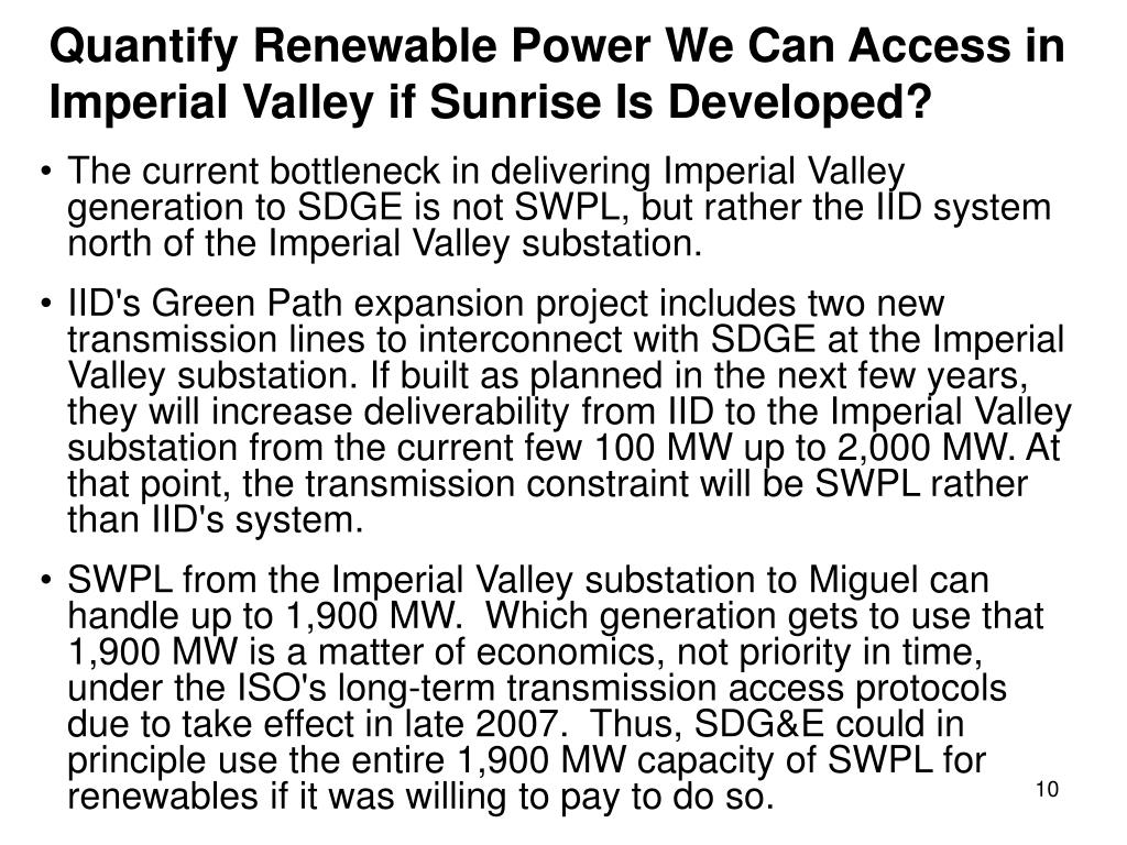 Quantify Renewable Power We Can Access in Imperial Valley if Sunrise Is Developed?