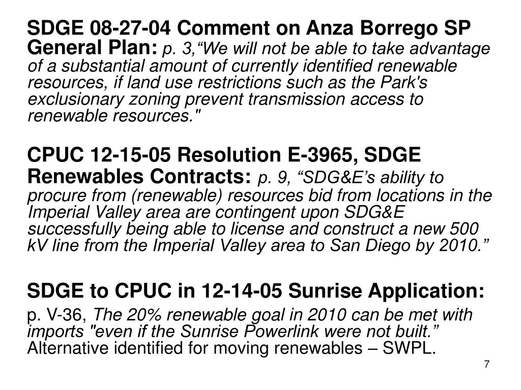 SDGE 08-27-04 Comment on Anza Borrego SP General Plan: