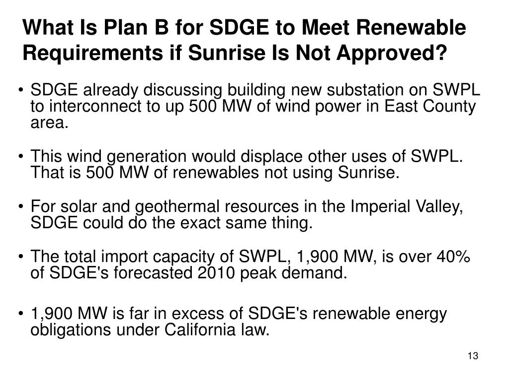 What Is Plan B for SDGE to Meet Renewable Requirements if Sunrise Is Not Approved?