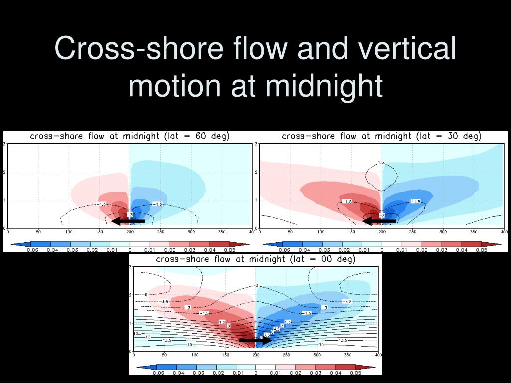 Cross-shore flow and vertical motion at midnight