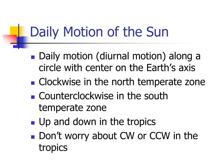 Daily motion of the sun