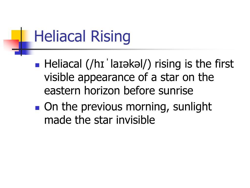 Heliacal Rising
