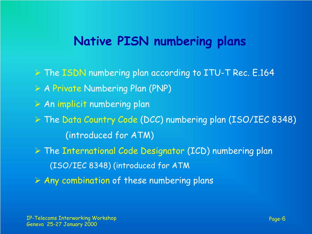 Native PISN numbering plans