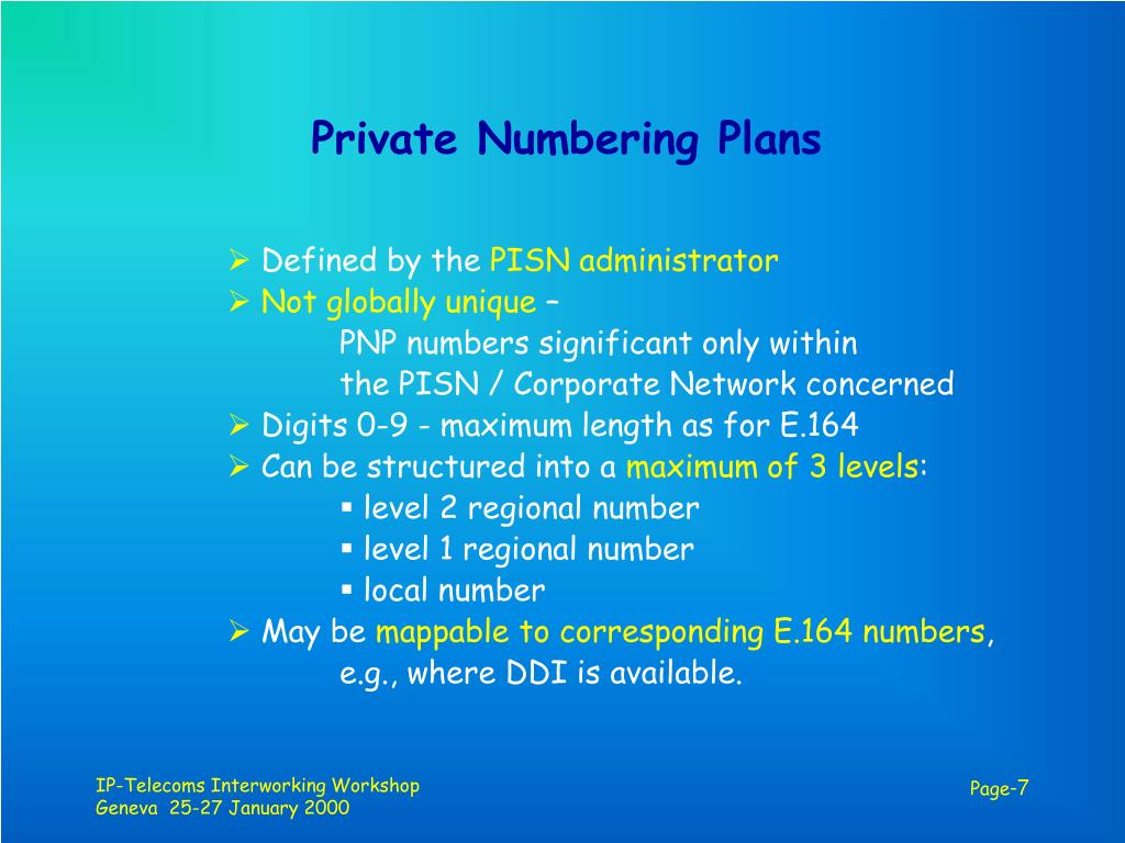 Private Numbering Plans