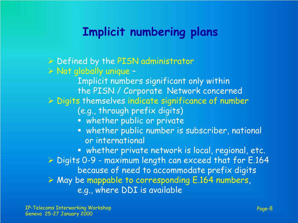 Implicit numbering plans