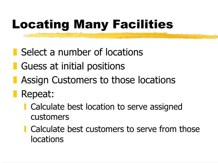 Locating Many Facilities
