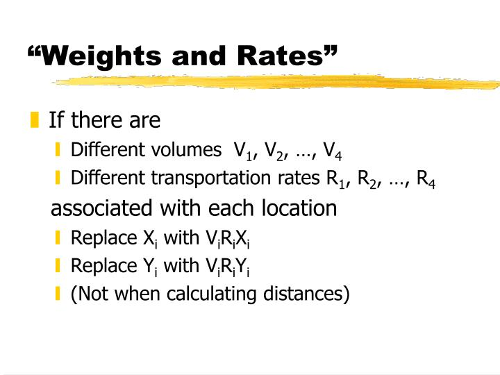 """""""Weights and Rates"""""""