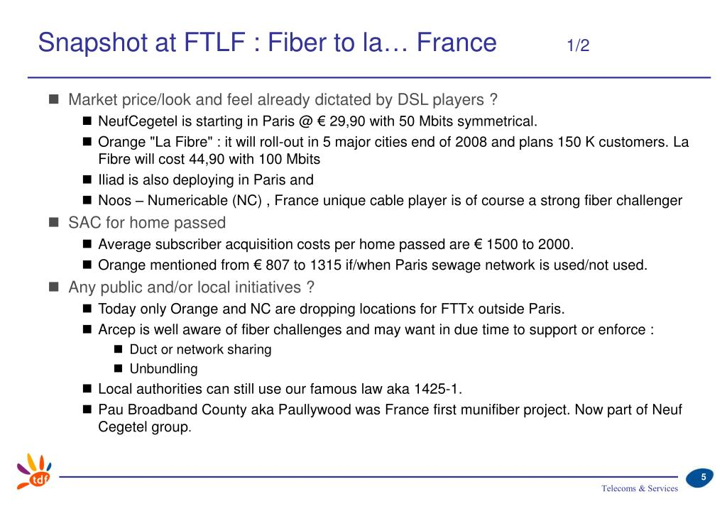 Snapshot at FTLF : Fiber to la… France