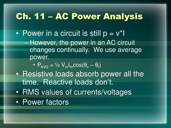 Ch. 11 – AC Power Analysis