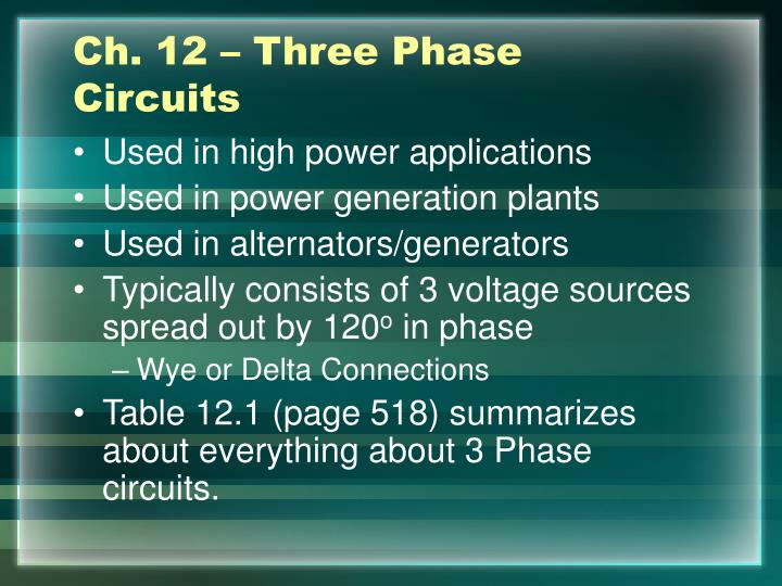 Ch. 12 – Three Phase Circuits
