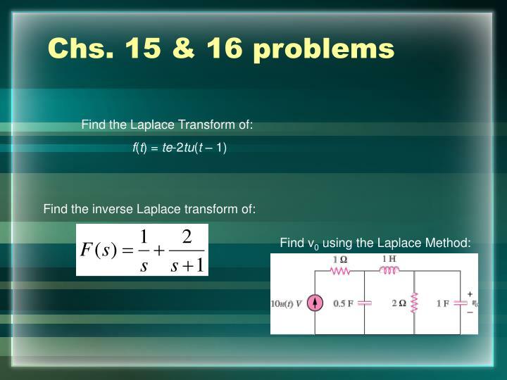 Chs. 15 & 16 problems