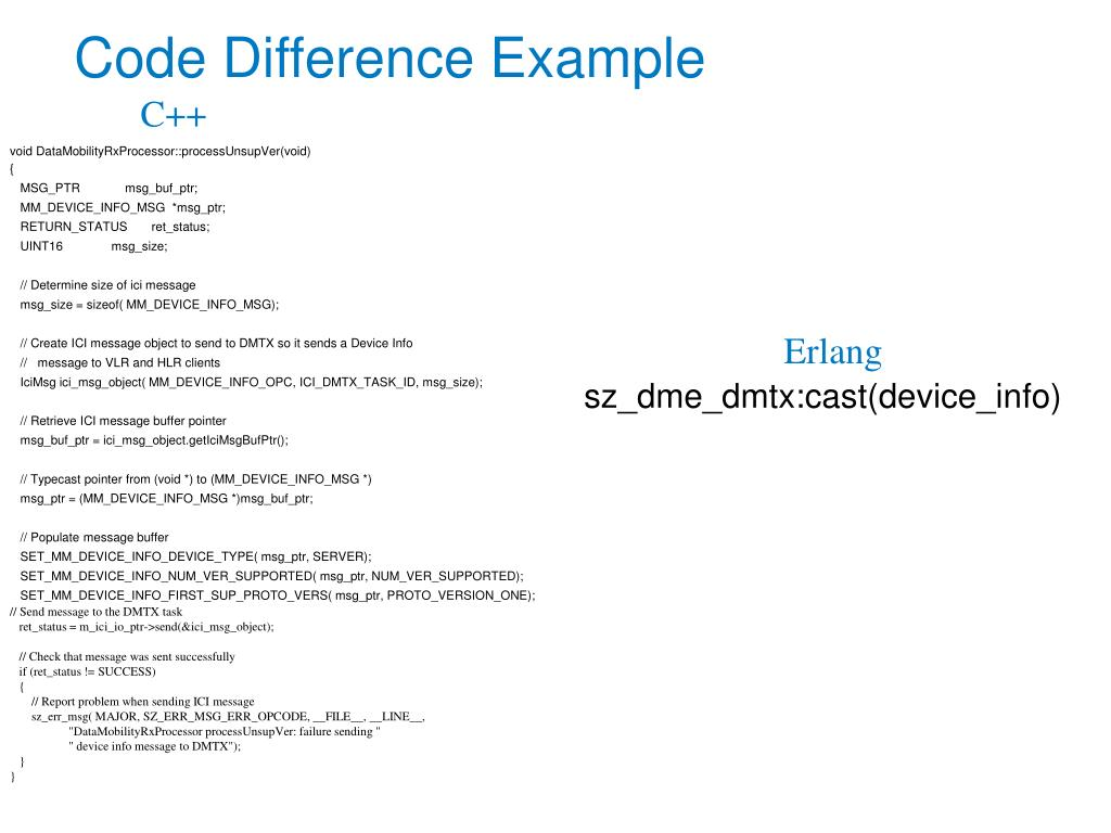 Code Difference Example