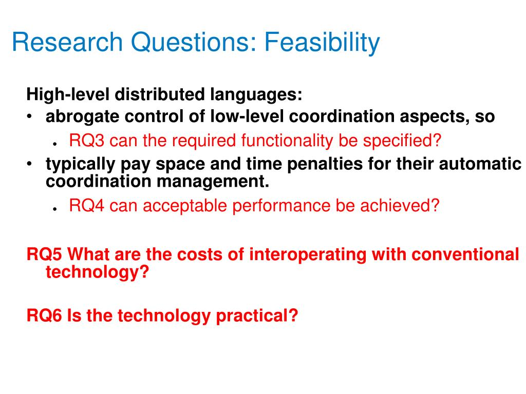 Research Questions: Feasibility