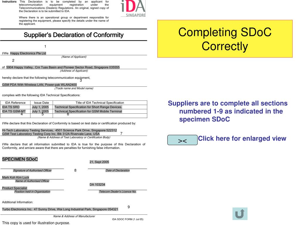Completing SDoC