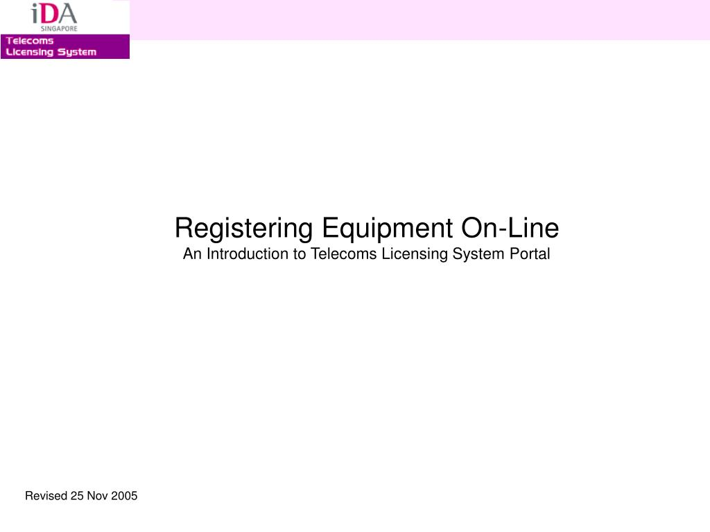 Registering Equipment On-Line