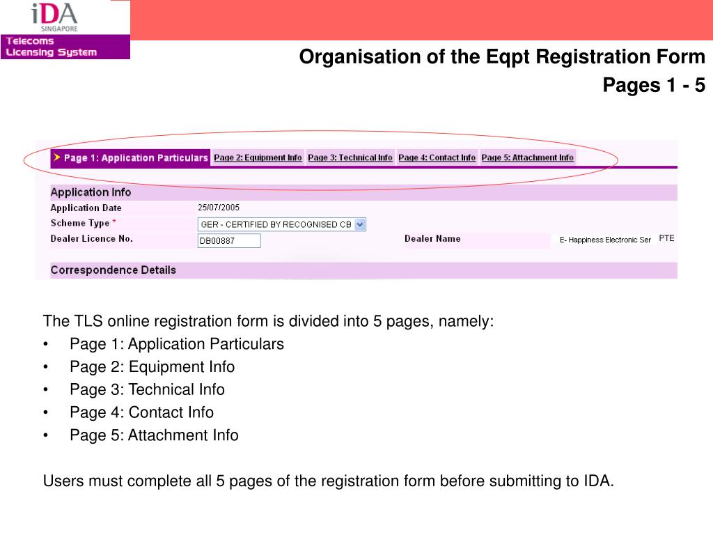 The TLS online registration form is divided into 5 pages, namely:
