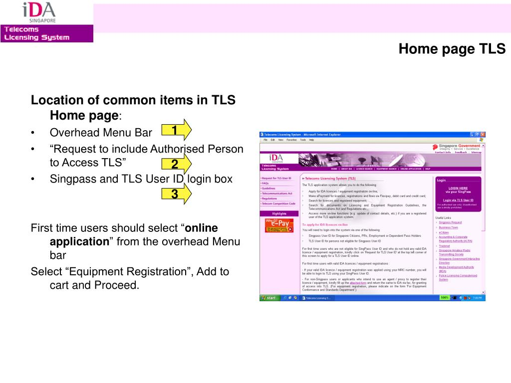 Location of common items in TLS Home page
