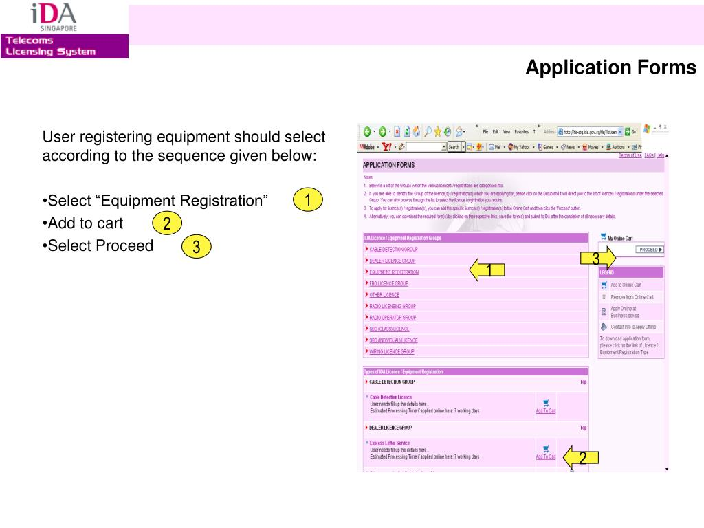 User registering equipment should select according to the sequence given below: