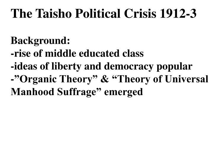 The Taisho Political Crisis 1912-3
