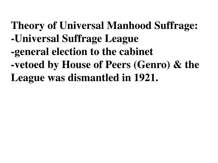 Theory of Universal Manhood Suffrage: