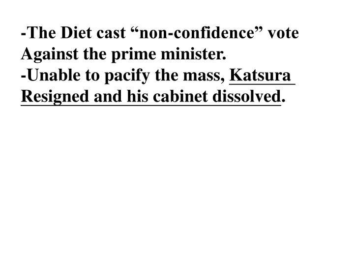 """-The Diet cast """"non-confidence"""" vote"""