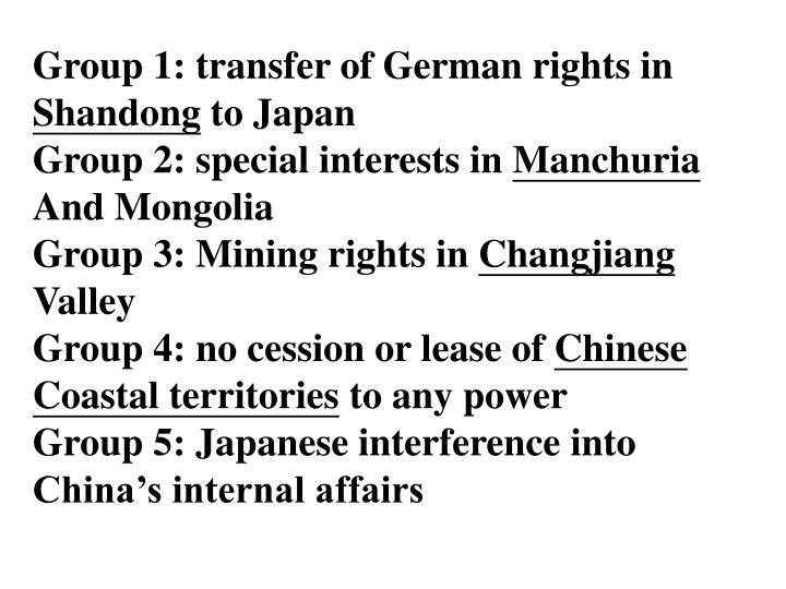 Group 1: transfer of German rights in