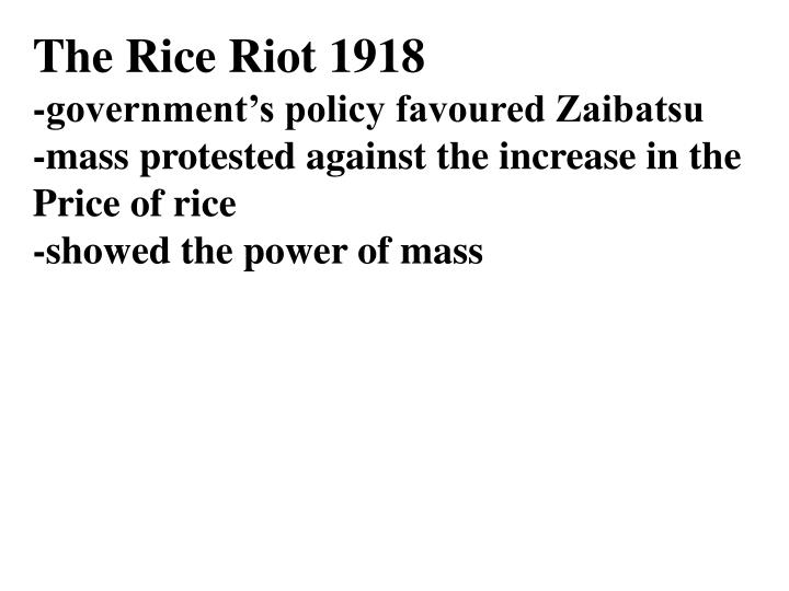 The Rice Riot 1918
