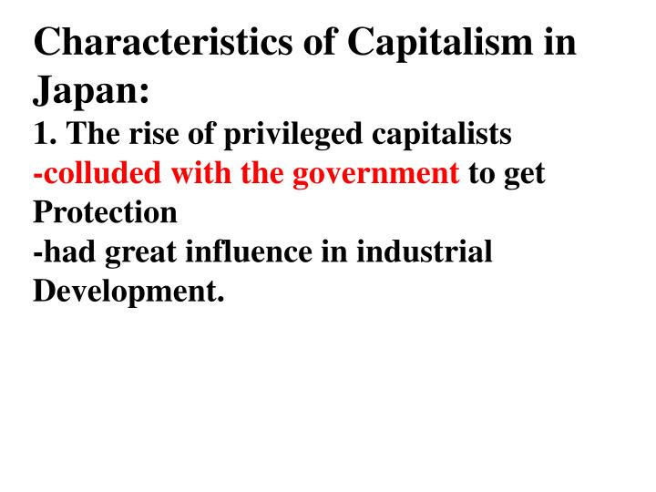 Characteristics of Capitalism in