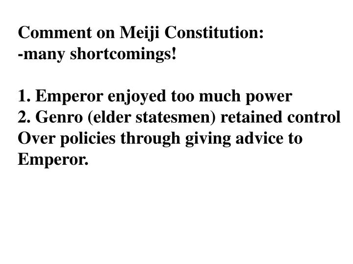 Comment on Meiji Constitution: