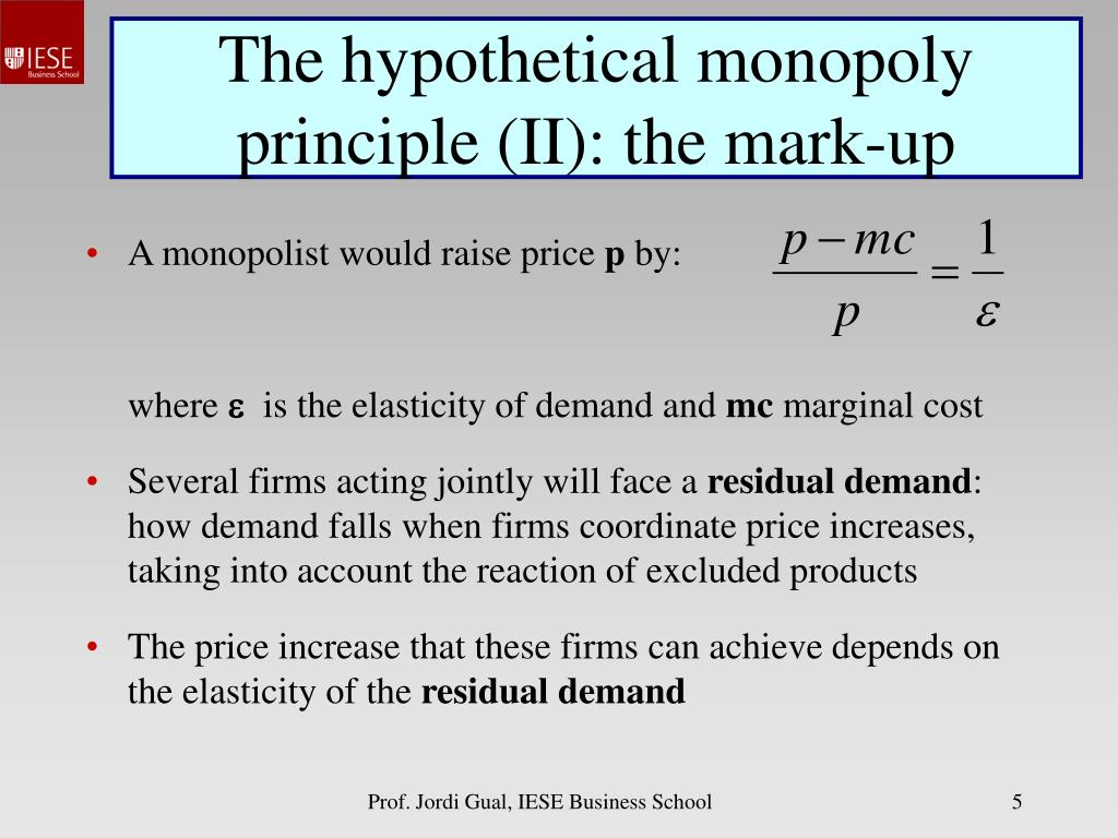 The hypothetical monopoly principle (II): the mark-up