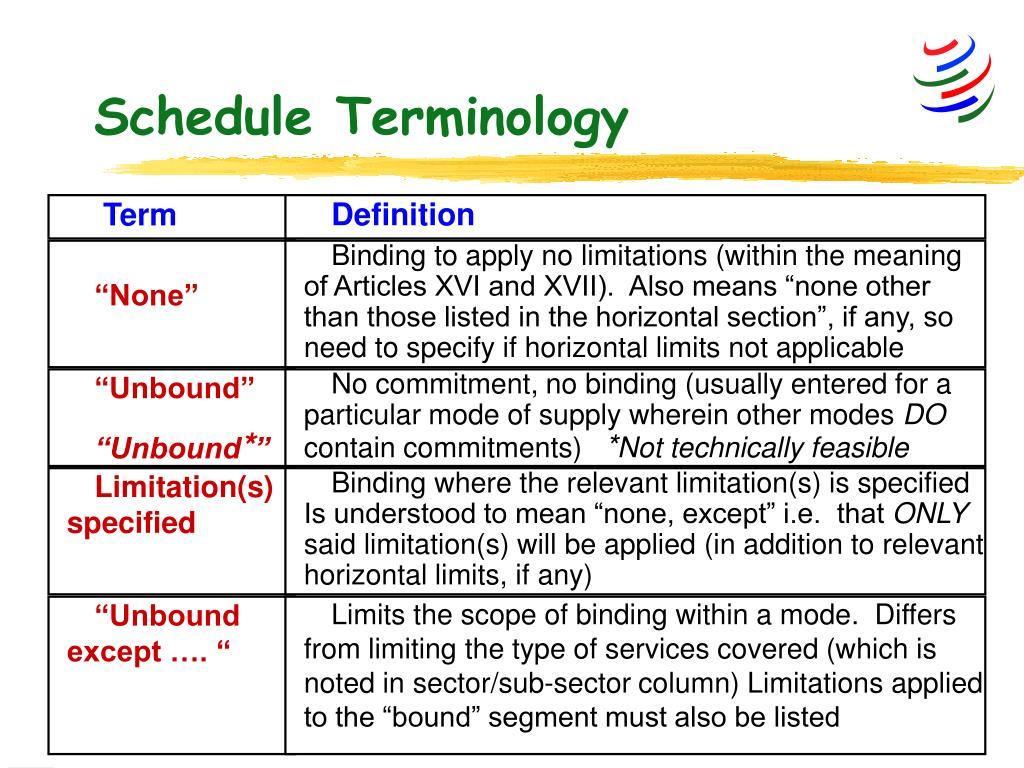 Schedule Terminology