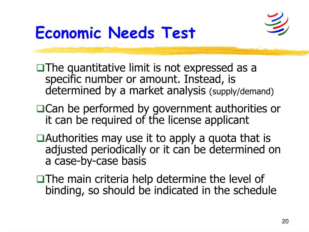 Economic Needs Test