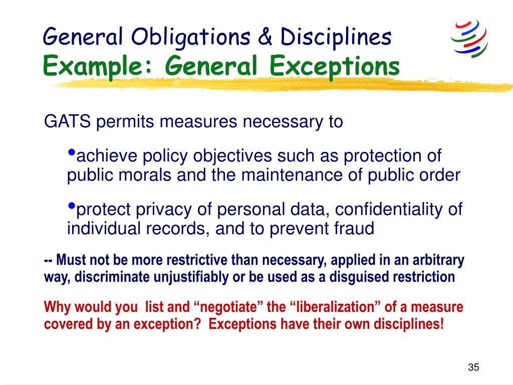 General Obligations & Disciplines