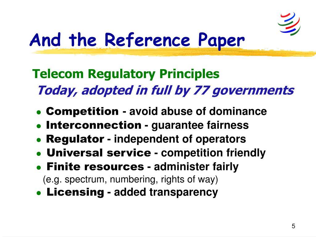 Telecom Regulatory Principles