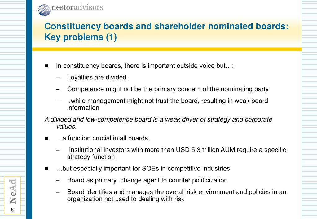 Constituency boards and shareholder nominated boards: