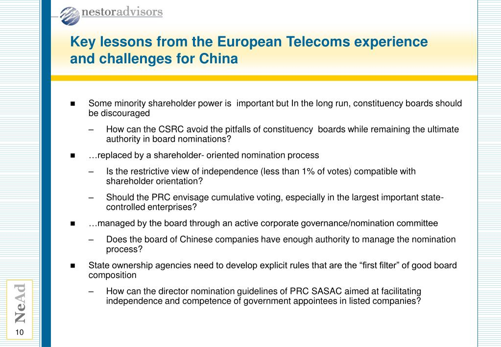 Key lessons from the European Telecoms experience