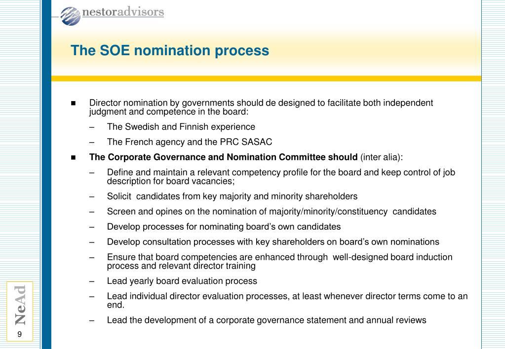 The SOE nomination process