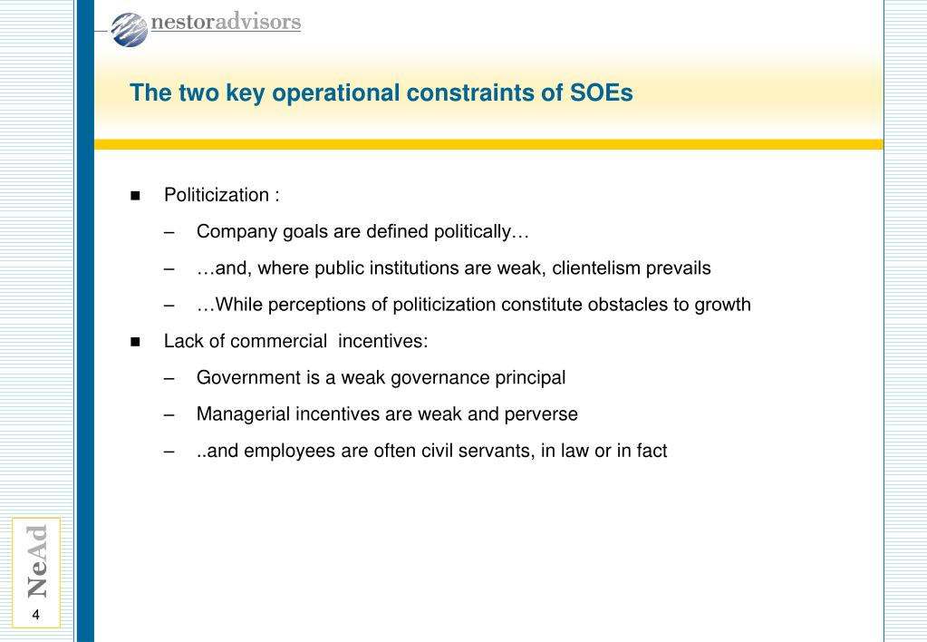 The two key operational constraints of SOEs