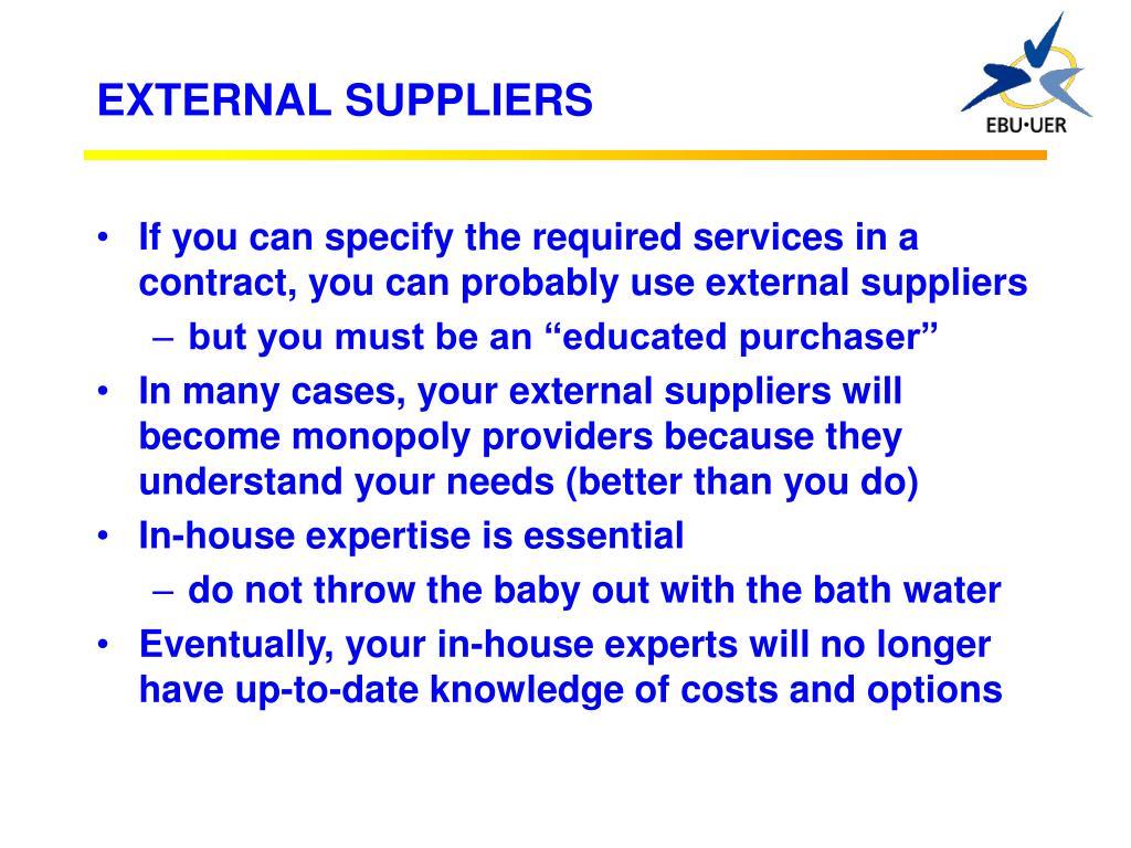 EXTERNAL SUPPLIERS