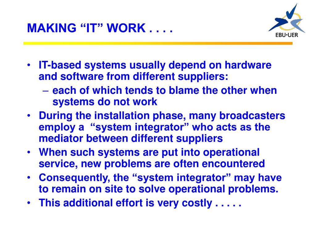 "MAKING ""IT"" WORK . . . ."