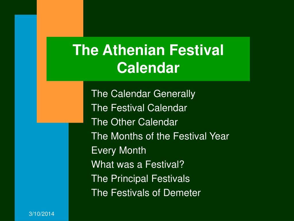 The Athenian Festival Calendar