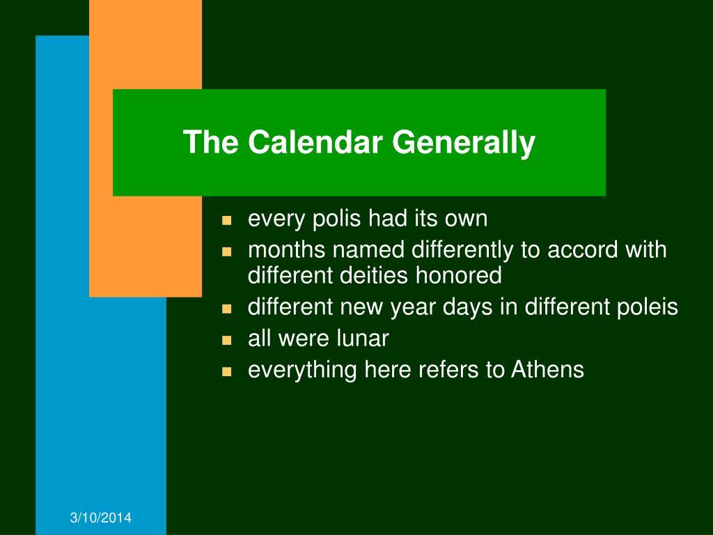 The Calendar Generally