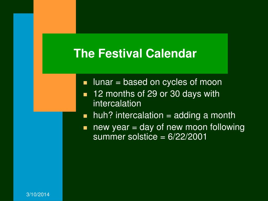 The Festival Calendar