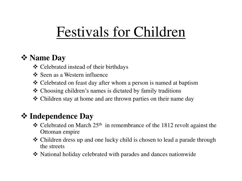 Festivals for Children