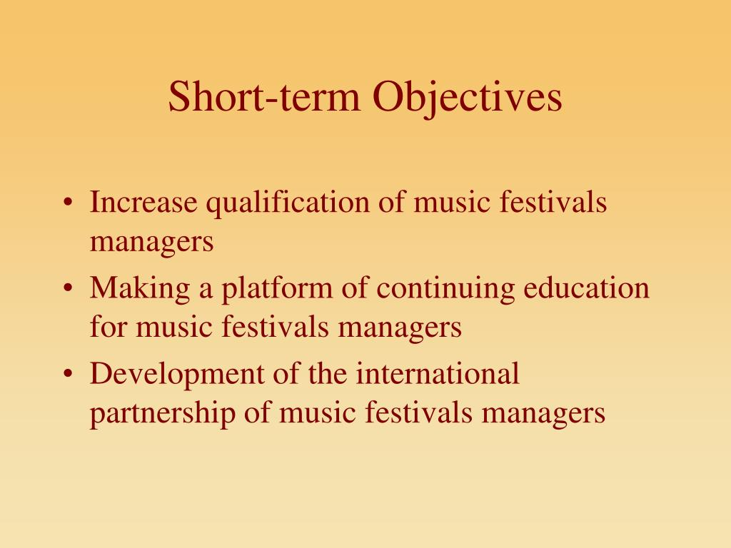 Short-term Objectives